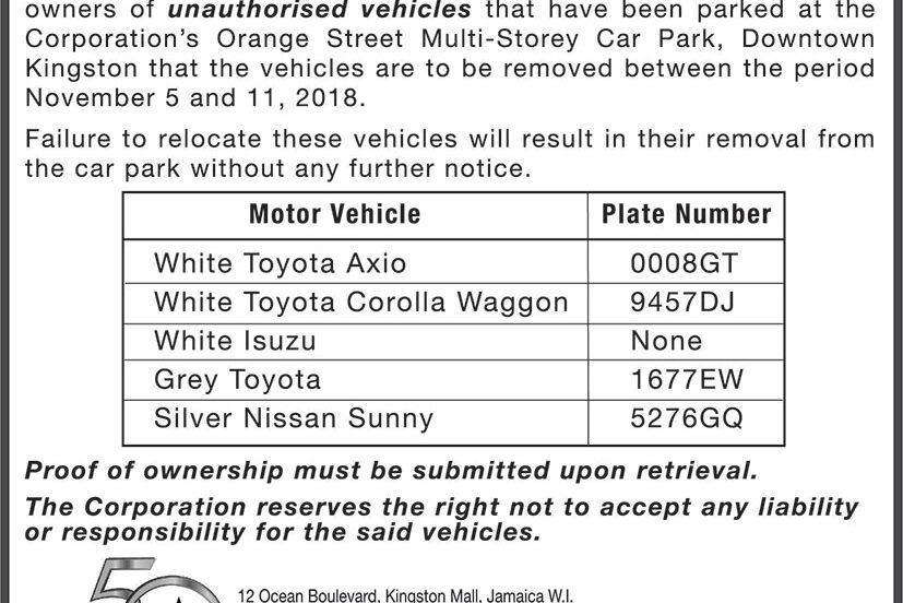 Notice Derelict Vehicles
